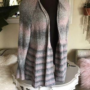 torrid Sweaters - Torrid Gray Pink Open Cardigan
